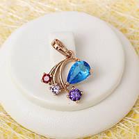 R4-0689 - Кулон с ярко-голубым и цветными фианитами розовая позолота