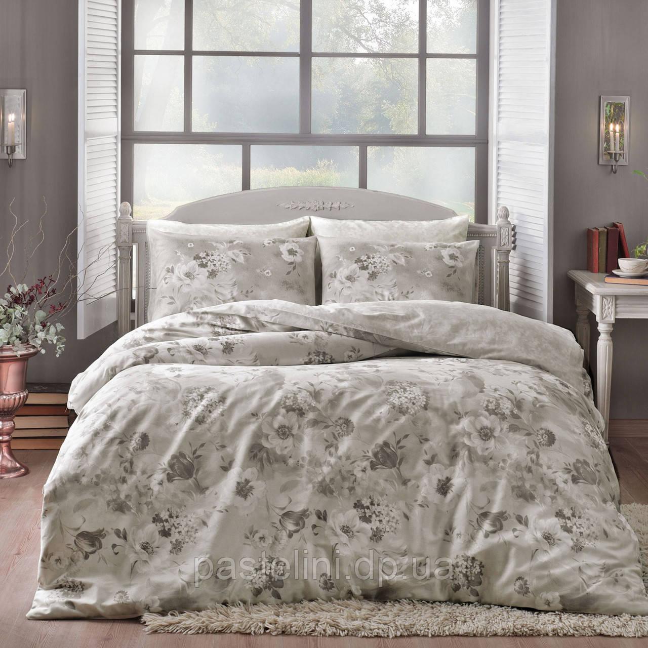 TAC  сатин Allure gri евро комплект постельного белья