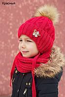 Шапочка детская Искусственный мех Принцесса размер 50 , цвет красный (зимняя)
