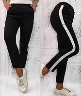Женские черные  штаны с лампасами S-M