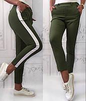 Женские  штаны цвета хаки с лампасами
