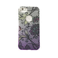 Чехол силиконовый Aspor Mask Collection Фиолетовые цветы для iPhone 7
