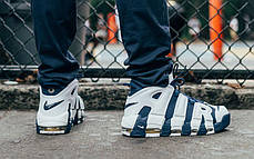 Мужские кроссовки Nike Air More Uptempo Olympic Blue/White, Найк Аир Мор Аптемпо, фото 3
