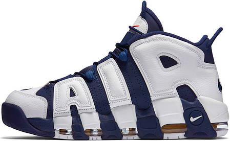 Мужские кроссовки Nike Air More Uptempo Olympic Blue/White, Найк Аир Мор Аптемпо, фото 2