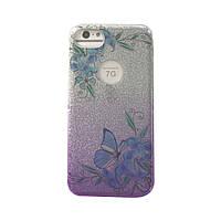 Чехол силиконовый Aspor Mask Collection Бабочка синяя в серебре для iPhone 7