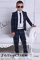 Клетчатый костюм на мальчика синий
