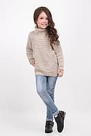 Теплый длинный свитер для девочек