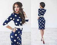 Платье женское в горох, материал - французский трикотаж , цвет - темно-синий