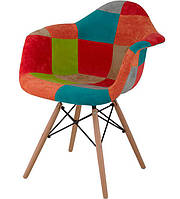 Кресло Eames DAW AC-018WB Patchwork #3, деревянные ноги, дизайн Charles & Ray Eames, фото 1