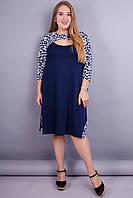 Александра. Оригинальное платье больших размеров. Синий+орнамент.