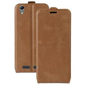 Чехол книжка для Lenovo K10e70 вертикальный флип, Гладкая кожа, коричневый
