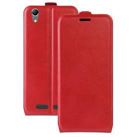 Чехол книжка для Lenovo K10e70 вертикальный флип, Гладкая кожа, красный