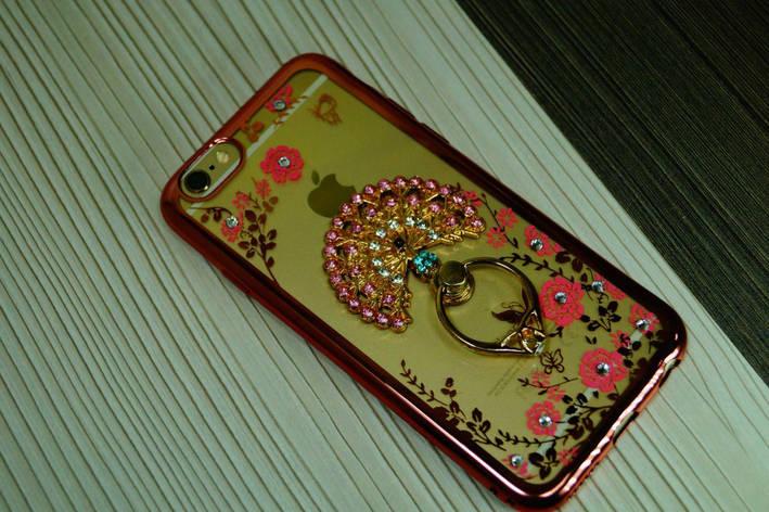 Чехол для iPhone 6  с кольцом .мягкий с камнями (Павлин ), фото 2