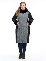 Удлиненная куртка женская, твидовая, батал