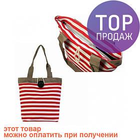 Сумка холщовая Красно-белые полосы / женская сумка
