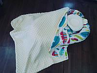 Кокон- гнездышко двустороннее + ортопедическая подушка для новорожденных + конверт-  плед на выписку летний