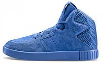 Мужские высокие кроссовки Adidas Originals Tubular Invader 2.0 (Адидас Тубулар) синие