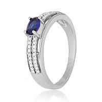 """Серебряное кольцо с имитацией сапфира """"339"""""""