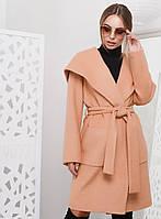 Стильное Демисезонное Пальто с Капюшоном Песочное