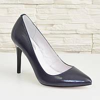 Туфли женские на высоком каблуке, синяя кожа. 36 размер