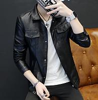 Мужская кожаная куртка. Модель 61130, фото 4