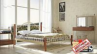 Кровать металлическая кованная Джоконда на деревянных ножках двуспальная, фото 1