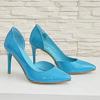 Стильные женские бирюзовые туфли на шпильке, натуральная лаковая кожа. 37,40 размеры