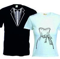 Свадебные парные футболки смокинг и платье