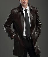 Мужская теплая кожаная куртка. Модель 61131