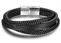 Мужской кожаный браслет Primo Rope с магнитной застежкой - Silver