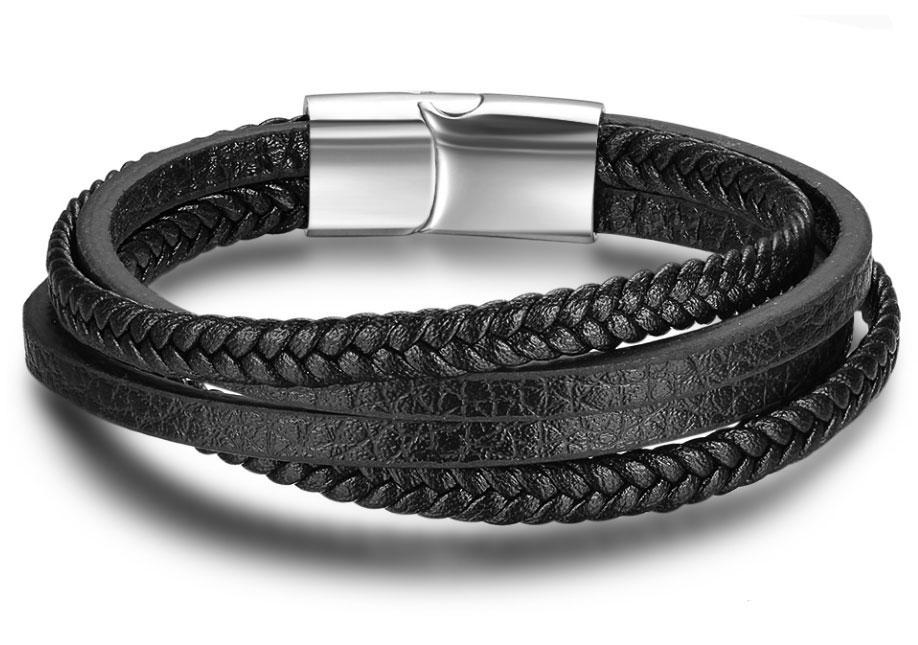 Мужской кожаный браслет Primo Rope с магнитной застежкой