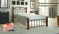 Кровать металлическая кованная на деревянных ножках Монро мини односпальная