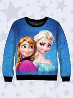 """Детский джемпер/реглан для девочки """"Anna and Elsa"""" (мультфильм Холодное сердце). Размеры от 1 года до 12 лет."""