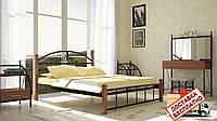 Кровать металлическая кованная Кассандра на деревянных ножках двуспальная, фото 1
