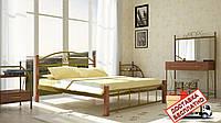 Кровать металлическая кованная Кассандра на деревянных ножках полуторная, фото 1