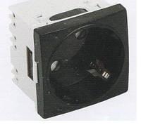 Модульная розетка  45х45 для установки в люк, кабель-канал, настенный бокс, белая, с заземлением и защитой