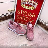 Женские кроссовки розовые в стиле reebok блестящая полоска
