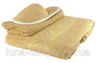 Мужской махровый комплект для сауны песочный, с тапочками, Турция
