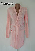 Кардиган женский с пояском -розовый