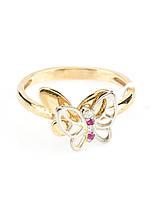 Кольцо золотое с бриллиантом и рубином