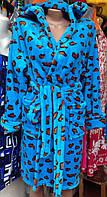Яркий халат махровый с леопардовым принтом