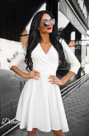 Повседневное платье с рукавом 3/4 и расклешенной юбкой q-t140382