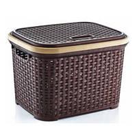 Контейнер с крышкой для хранения вещей ротанг Violet (коричневый) 30 л