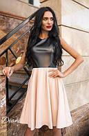 Двухцветное женское платье без рукавов (3 расцветки) e-t140384