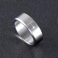 Кольцо Stainless Steel в серебряном цвете с крестом