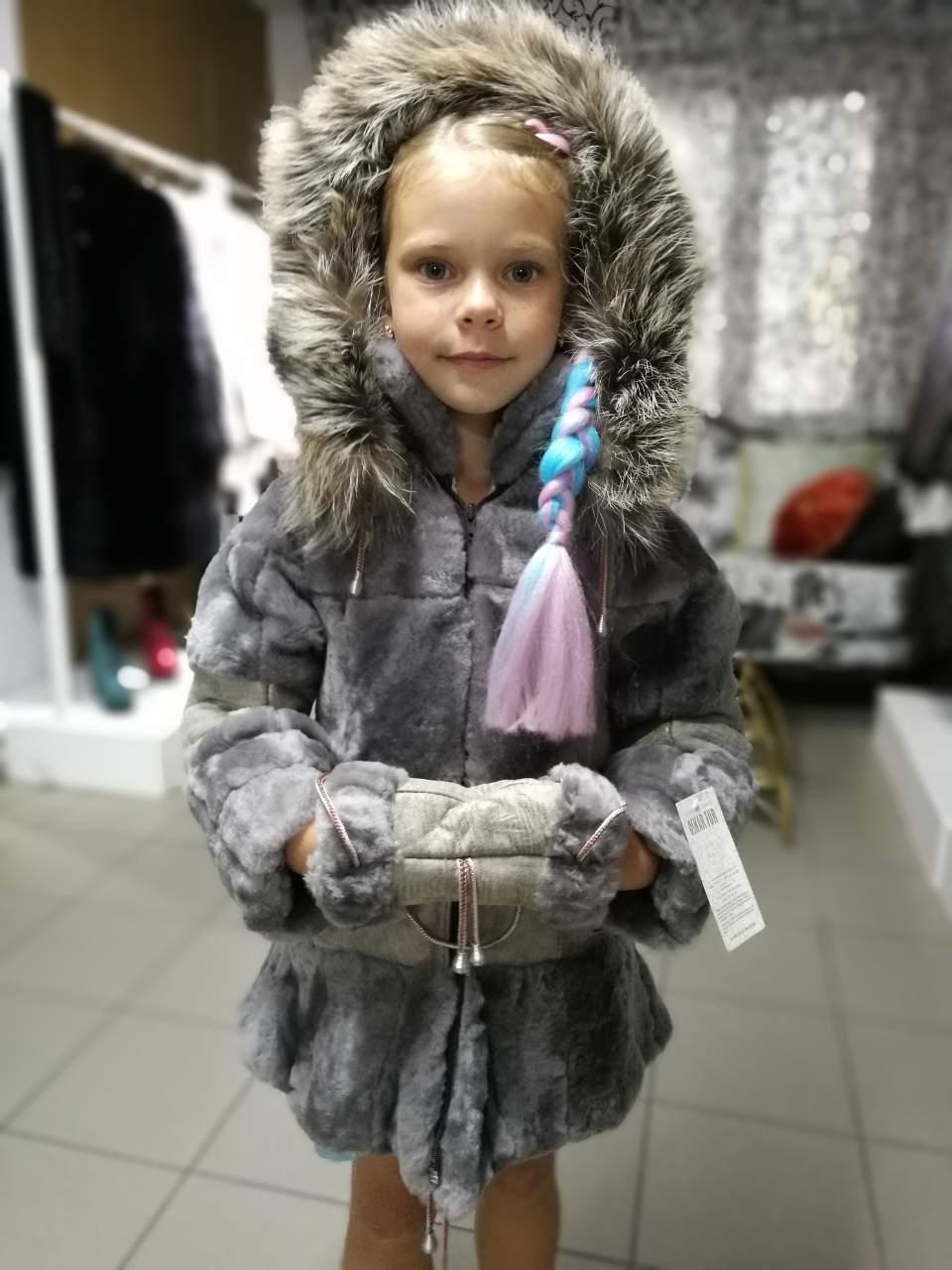 Дубленка для девочки, из натуральной овчины, с капюшоном