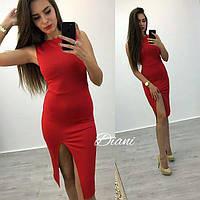 Облегающее платье без рукавов с разрезом (4 расцветки) y-t140386