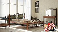 Кровать металлическая кованная Жозефина на деревянных ножках двуспальная, фото 1
