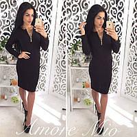 Черное осеннее теплое платье
