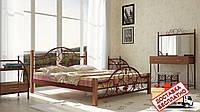 Кровать металлическая кованная Жозефина на деревянных ножках полуторная, фото 1